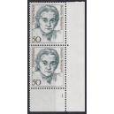 Mi. Nr. 1304 Eckrandpaar rechts unten mit fehlendem Zähnungsloch mit Formnummer 1