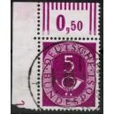 125 Eckrand links oben  gestempelt mit Druckerzeichen und kleiner Null
