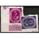 125 Eckrand links unten  gestempelt mit Druckerzeichen negativ 3 auf kleinem Briefstück