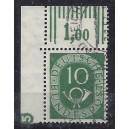 Mi. Nr. 128 Eckrand links oben gestempelt mit negativem Druckerzeichen 5