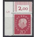 Mi. Nr. 304 Eckrand links oben mit Druckerzeichen DZ 5