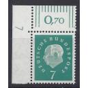 Mi. Nr. 302 Eckrandstück links oben mit DZ 7