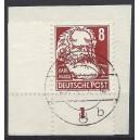 Mi. Nr. 329 im Eckrand links unten gestempelt auf Briefstück