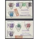 Mi. Nr. 362-79 im Eckrand links oben auf 5 Einschreibebriefen