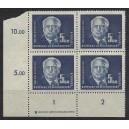 Mi. Nr. 255 Eckrandviererblock links unten mit Druckvermerk DV und Druckerzeichen DZ postfrisch
