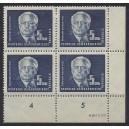 Mi. Nr. 255 Eckrandviererblock rechts unten mit Druckvermerk DV und Druckerzeichen DZ postfrisch