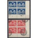 Mi. Nr. 296/97 gestempelt im Eckrandviererblock rechts unten mit Druckerzeichen
