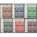 Mi. Nr. 1- 16 Eckrandvierer links unten mit  Druckerzeichen