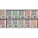 Mi. Nr. 1- 12 Dienstmarken mit Plattennummer, Böhmen und Mähren, Eckrand unten rechts
