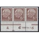 Mi. Nr. 180 3-er-Streifen postfrisch mit Hausauftragsnummer 15093 54.1 mit Druckerzeichen Fr.
