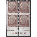 Mi. Nr. 180 4-er-Block postfrisch mit Hausauftragsnummer 15093 54.1 mit Druckerzeichen Fr.