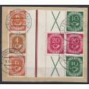 Mi. Nr. WZ3 und 2x WZ4 auf Briefstück gestempelt