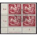 Mi. Nr. 260 Eckrandviererblock links unten zentrisch gestempelt