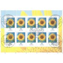 Mi.Nr. 2434 gestempelter 10-er-Bogen. Sonnenblumen.