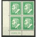 Mi. Nr. 209 Eckrandviererblock links unten mit Hausauftragsnummer 15465.54 postfrisch.