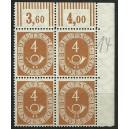 Mi. Nr. 124 Eckrandvierblock rechts oben mit dünnem Komma