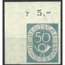 Absoluter Posthornhöhepunkt!!!Mi. Nr. 134 im Eckrand links oben ungezähnt mit Form- bzw. Plattennummer 7 postfrisch und ungefa