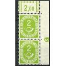 Mi. Nr. 123 Eckrandpaar rechts oben mit Druckerzeichen negativ 5 postfrisch