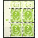 Mi. Nr. 123 Eckrandviererblock links oben mit Druckerzeichen negativ 2