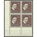 Mi. Nr. 143 Eckrandviererblock links unten Formnummer 0 mit Bc-Zähnung