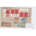 Mi. Nr. 922 und 934 Hausauftragsnummer auf portogerechtem Einschreibe- Eilboten-Brief