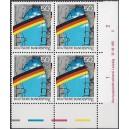 Mi. Nr. 1481 I  im Eckrandviererblock rechts unten mit Druckvermerk und Farbleiste