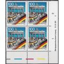 Mi. Nr. 1482 I  im Eckrandviererblock rechts unten mit Druckvermerk und Farbleiste