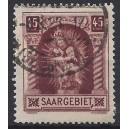 """Mi. Nr. 102 mit Plattenfehler II (Rahmen unter """"T"""" von """"SAARGEBIET"""" nach oben gebogen) gestempelt"""