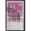 Mi. Nr. 96 Unterrand mit Plattennummer gestempelt