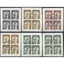 Mi. Nr. 359-370, 393-396, 427-33  im Viererblock zentrisch gestempelt mit Ersttagssonderstempel auf Briefstück