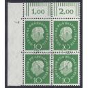 Mi. Nr. 183 Eckrandvierer links oben mit Druckerzeichen gestempelt