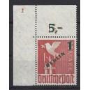 Mi. Nr. 67 im Eckrand links oben postfrisch mit Plattennummer 1 und Plattennummer 2 im Blinddruck!