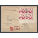 Mi. Nr. 282 Eckrandviererblock rechts unten mit Druckvermerk auf Brief gestempelt.