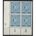 Mi. Nr 924 d grauultramarin als Eckrandviererblock links unten mit Druckerzeichen F postfrisch! Sehr selten!!