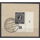 Mi. Nr. 912 im Eckrand rechts unten mit Druckerzeichen F auf Briefstück gestempelt.