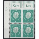 Mi. Nr. 302 Eckrandviererblock links oben mit Druckerzeichen 1