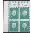 Mi. Nr. 302 Eckrandviererblock links oben mit Druckerzeichen 4