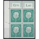 Mi. Nr. 302 Eckrandviererblock links oben mit Druckerzeichen 7