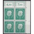 Mi. Nr. 302 Eckrandviererblock rechts oben mit Druckerzeichen 4