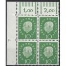Mi. Nr. 303 Eckrandviererblock links oben mit Druckerzeichen 4