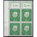 Mi. Nr. 303 Eckrandviererblock links oben mit Druckerzeichen 12