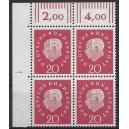 Mi. Nr. 304 Eckrandviererblock links oben mit Druckerzeichen 1