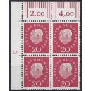 Mi. Nr. 304 Eckrandviererblock links oben mit Druckerzeichen 5