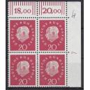 Mi. Nr. 304 Eckrandviererblock rechts oben mit Druckerzeichen 7