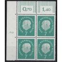 Mi. Nr. 182 Eckrandviererblock links oben mit Druckerzeichen 2 postfrisch