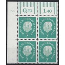 Mi. Nr. 182 Eckrandviererblock links oben mit Druckerzeichen 2