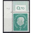 Mi. Nr. 182 Eckrandstück links oben mit Druckerzeichen 2 postfrisch