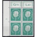 Mi. Nr. 182 Eckrandviererblock links oben mit Druckerzeichen 4 postfrisch