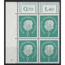 Mi. Nr. 182 Eckrandviererblock links oben mit Druckerzeichen 4