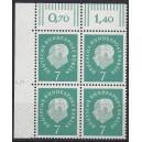 Mi. Nr. 182 Eckrandviererblock links oben mit Druckerzeichen 5